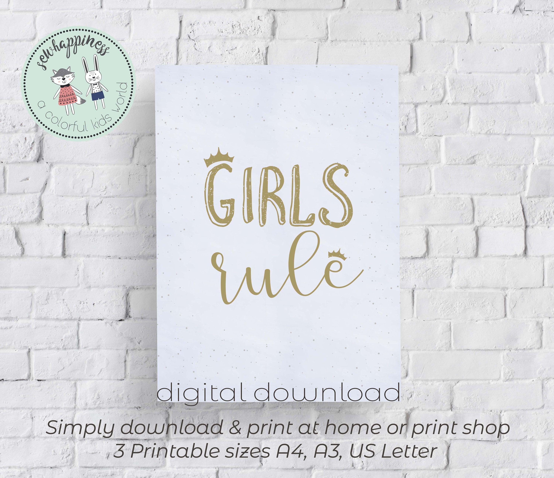 """/""""Girls Rule/"""" Grey Nursery Art Print Picture For Bedroom Playroom Kids Art"""