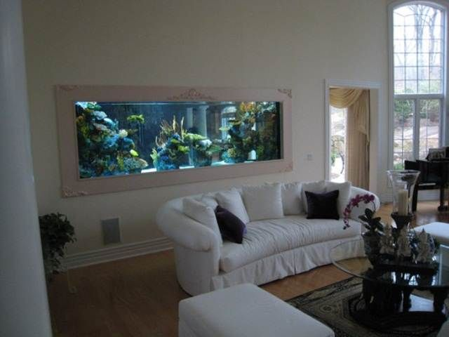 Wide Cream Fresh Cool Aquariums Placing On Wall At Living Room