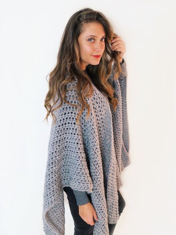 PATTERN For Blanket Poncho Crochet Wrap Cape Cardigan Ruana Boho New Crochet Ruana Pattern