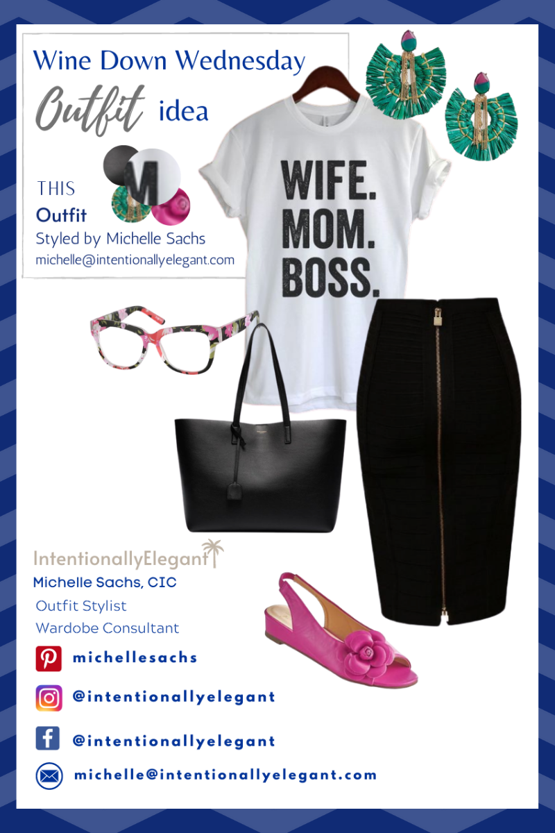 Here's a stylish outfit idea; what to wear for a fun summer night out!  Graphic t-shirts are always in style.  Add color to show your style personality.  Floral, raffia, and zipper detail says you love fashion. Black pencil skirt says you are a confident woman that knows how to wear a fabulous outfit.  . #outfits #outfitideas #outfitinspiration #whattowear #howtowear #ootd #styleinspiration #stylish #womensclothing #confidentoutfits #summeroutfits #graphicteeoutfit #skirtoutfit #blackskirtoutfit