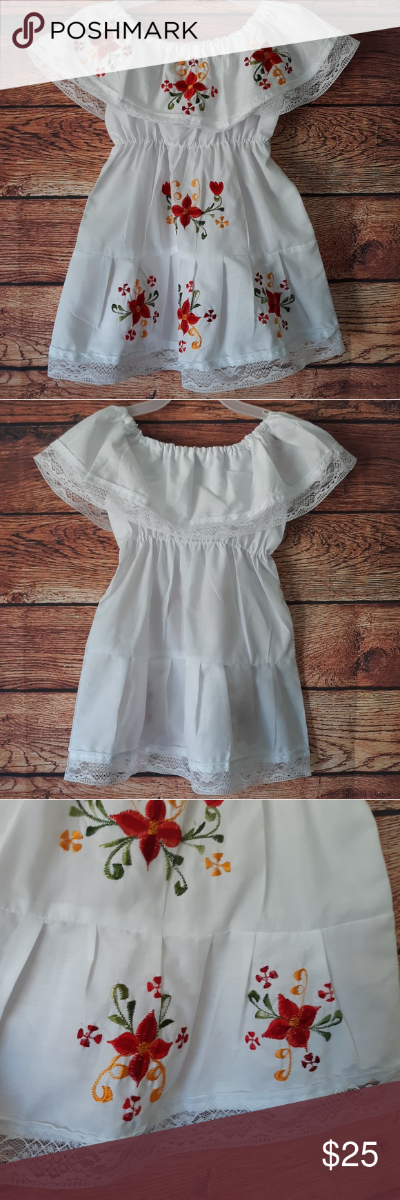 Toddler 2t Red Flower White Lace Dress Lace White Dress Dresses Lace Dress [ 1740 x 580 Pixel ]