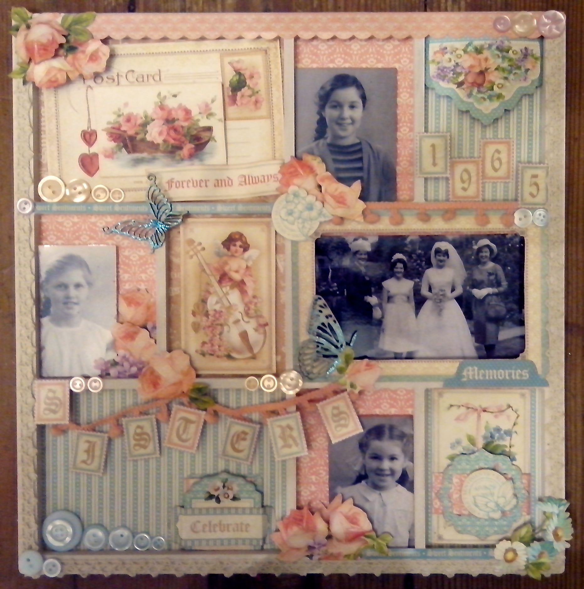 Vintage style scrapbook ideas - 1965 Sisters Feminine Heritage Shadow Box Style Page Created With Sweet Sentiments Picture Frame Heritage Scrapbookingscrapbooking Layoutsdigital
