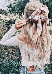 Half-up Frisur mit Schal Krawatte #Stil #Sommer #Haar – #frisur #krawatte #schal