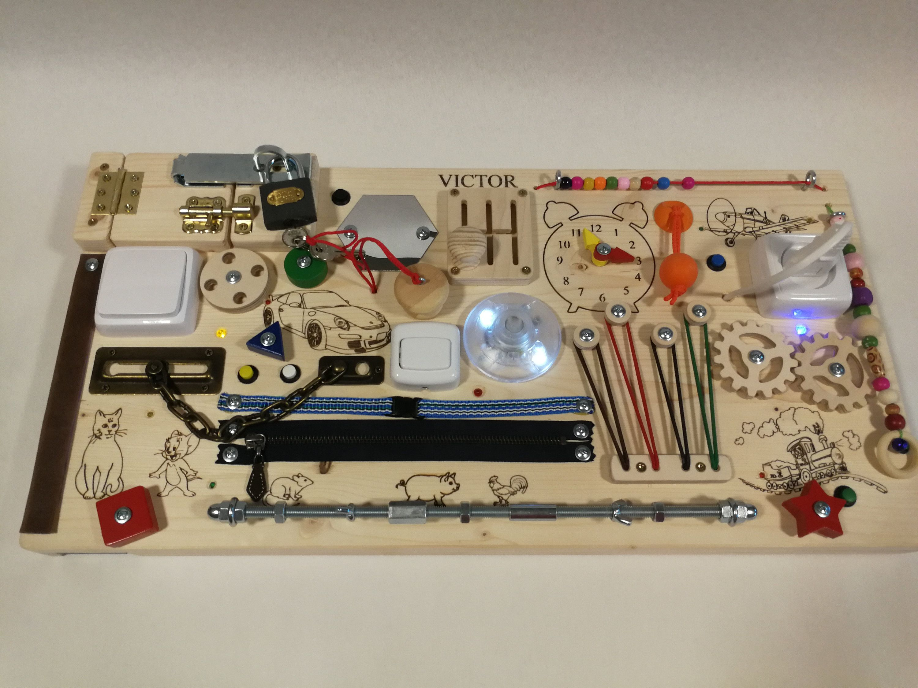 Led Personalized Custom Made Busy Board With Led Lights Activity