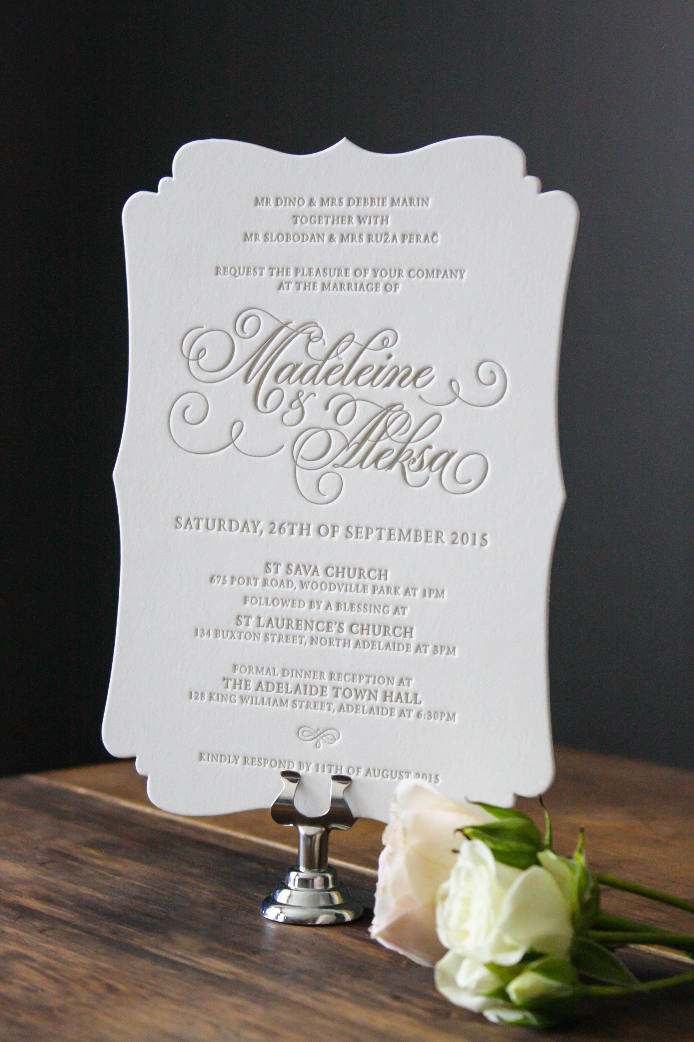 Die cut Letterpress invitation using gold ink | Letterpress ...