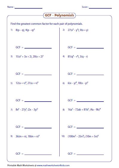 Gcf Of Polynomials Math Sec 3 Pinterest Common Factors