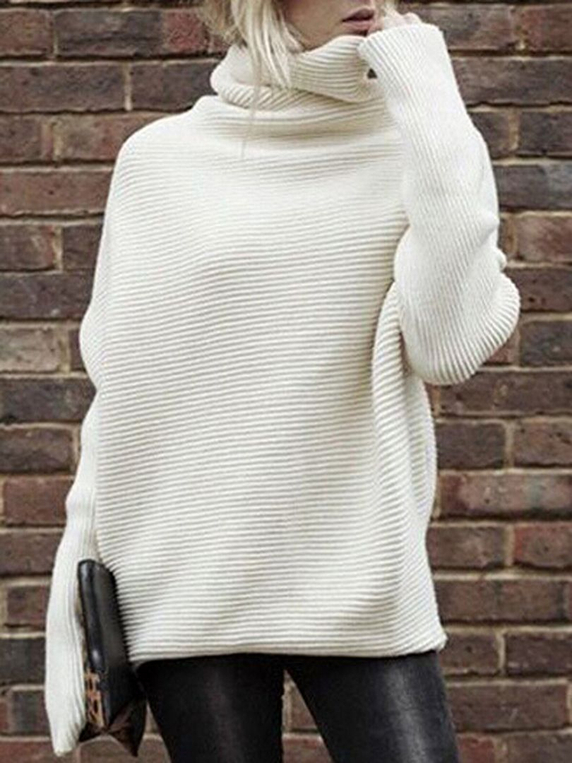 Shop Cream Cowl Neck Textured Batwing Sleeve Cable Sweater from ...