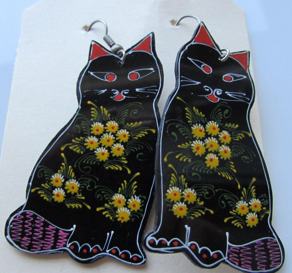Vtg Black Cat Earrings Kitten Cat Flower Power Painted Spring Nature Dangle Black Cat Earrings Cat Flowers Cat Earrings