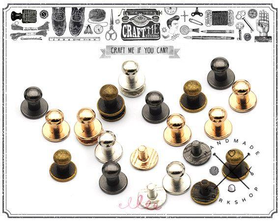 Solid brass nickel plated single cap rapid rivets 7 mm cap 100 pair