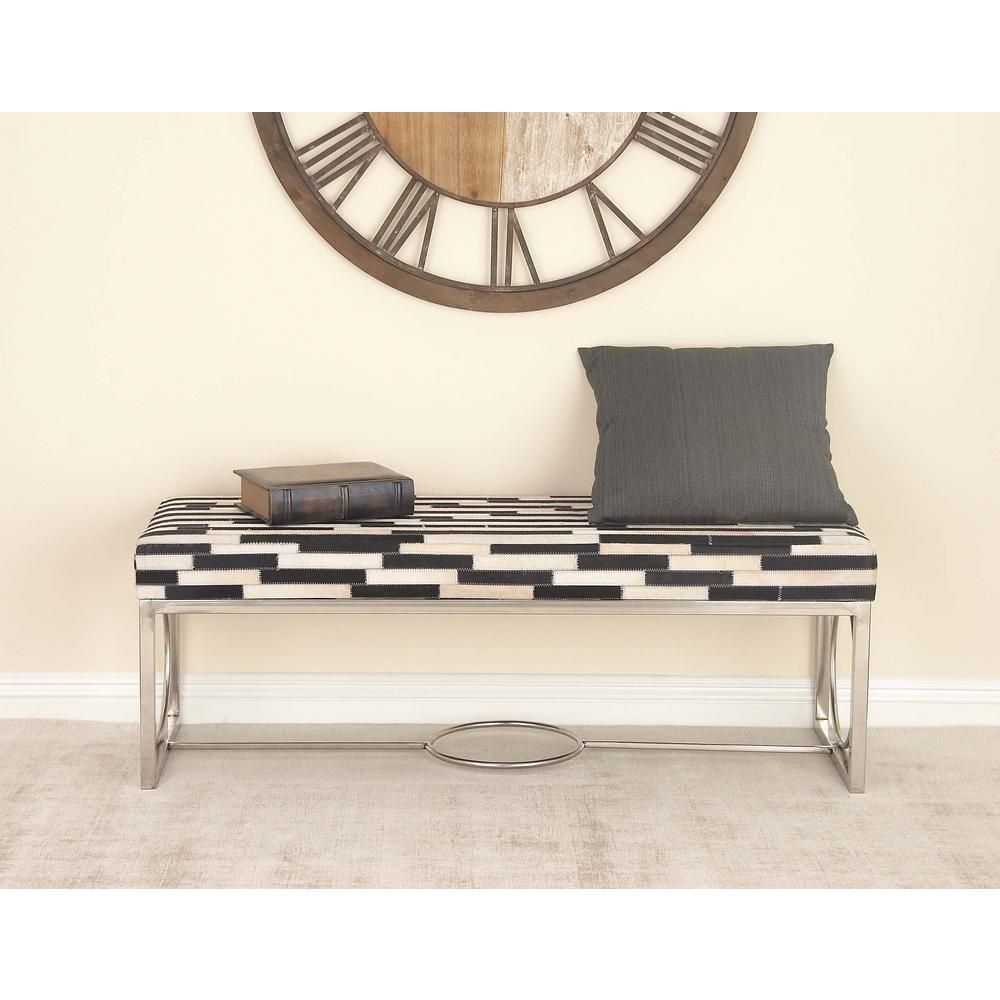 17 in. x 48 in. Stainless Steel and Leather Stripes Bench with MDF and Foam Seat, Silver
