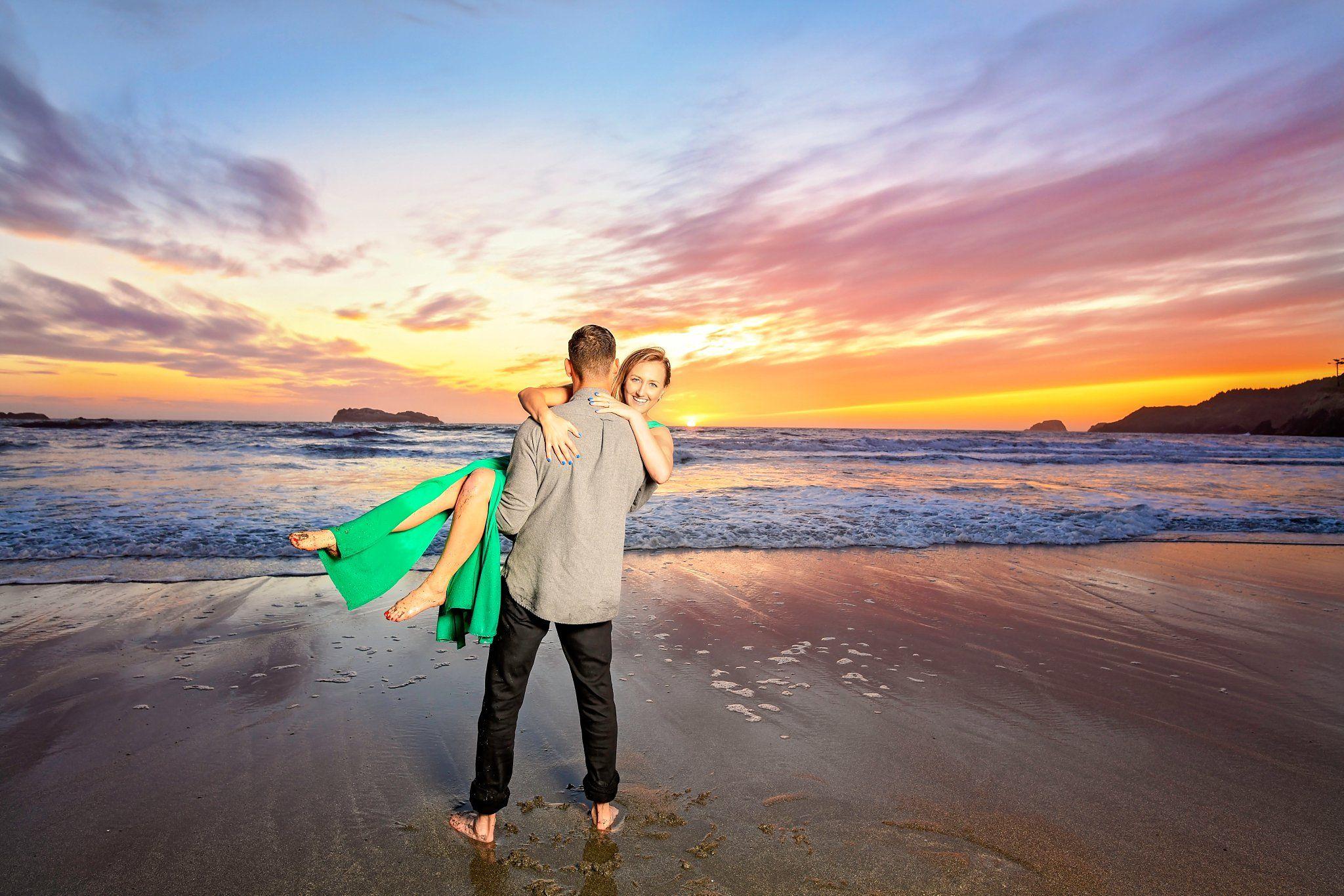 Beach engagement, blue skies, epic beach photo, beach