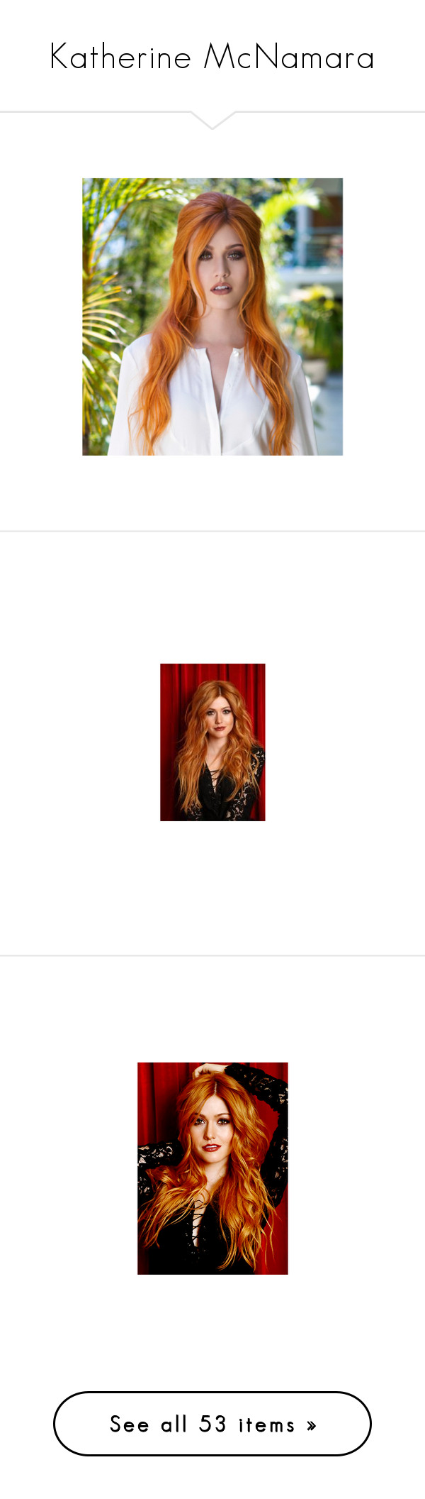 """""""Katherine McNamara"""" by emma-frost-98 ❤ liked on Polyvore featuring katherine mcnamara, kat mcnamara, shadowhunters, people, hair, cheveux, girls, models, pictures and accessories"""