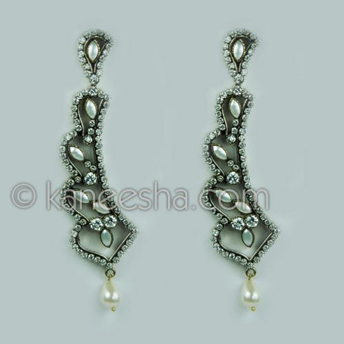 Victorian Style Antique Gold Finish Earrings Encrusted With Cubic Zircons And Faux Pearls Price Usa Dollar 59 British Uk Pound 35 Euro43 Canada Ca 63