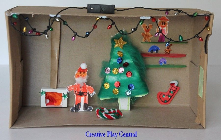 Christmas Shoebox Diorama.Picture 425 Inside Santa S House Shoe Box Creation By S