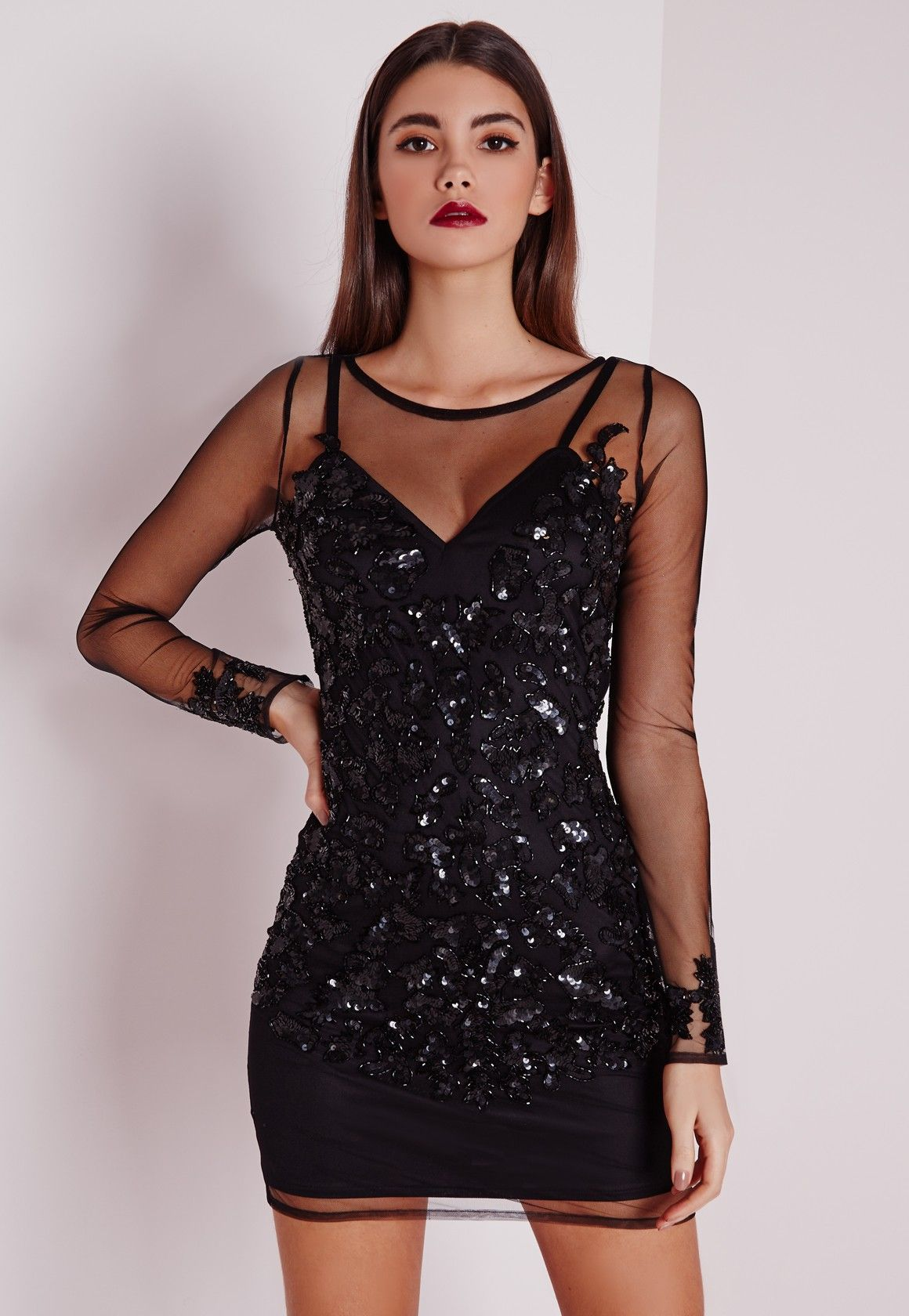 Premium embellished long sleeve mesh bodycon dress black in