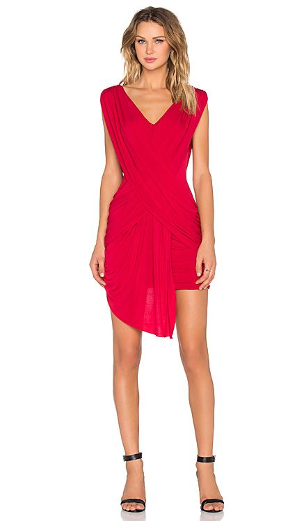 ✖️BCBGMAXAZRIA Draped Mini Dress in New Red   REVOLVE✖️