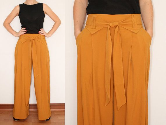 Wide Leg Pants Palazzo Pants in Mustard Yellow for by KSclothing ...