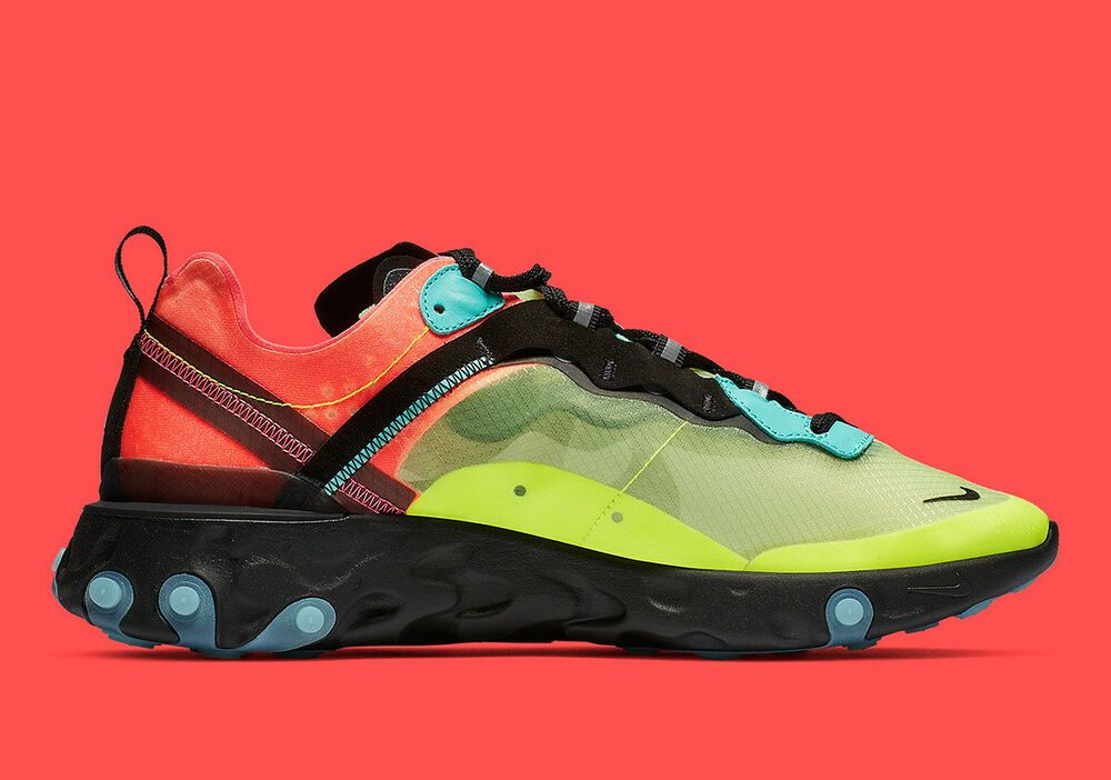Nike React Element 87 10.5 DS Volt Green Racer Pink Hyper