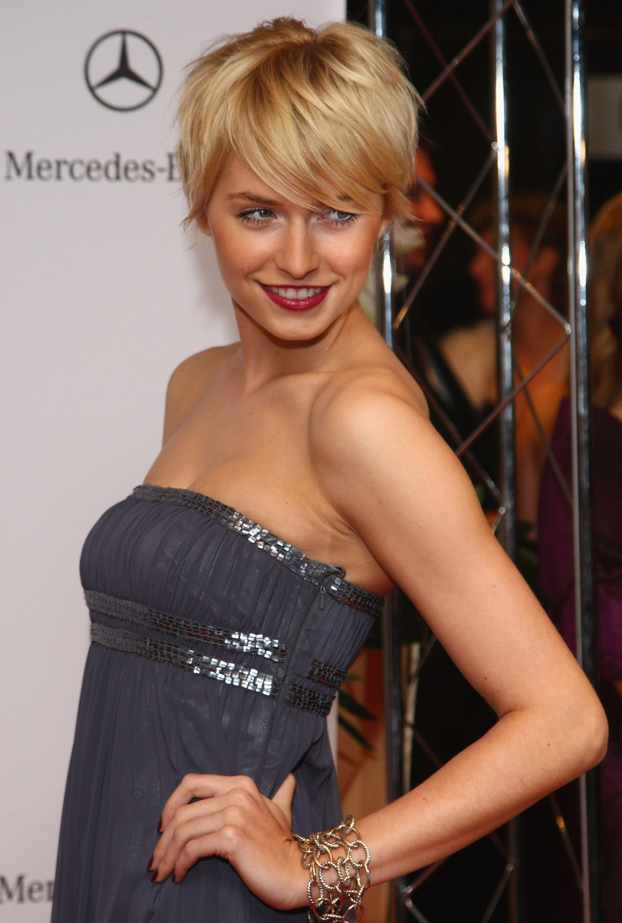 Short hair wfringe bangs perfect crop haircut and golden blonde