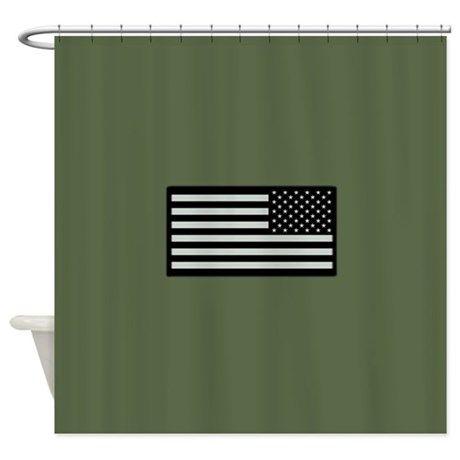 fe76de067e9d IR U.S. Flag on Military Green Back Shower Curtain on CafePress.com ...