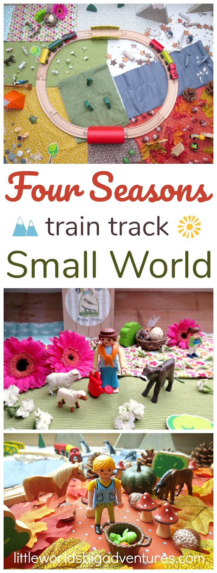 A journey through the four seasons with your favourite trains. This train track small world, both educational and fun, is a favourite with all preschoolers! Based on the book Old Tracks, New Tricks by Jessica Petersen | Little Worlds Big Adventures #trains #smallworldplay #seasons #preschooler #toddler #kidsactivities #play #smallworld