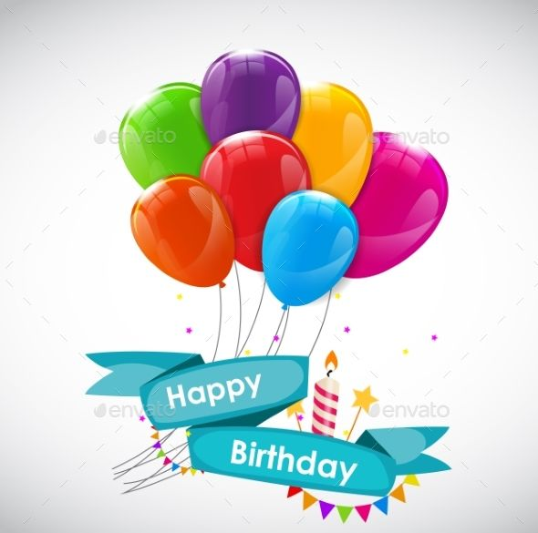Happy Birthday Card Template with Balloons Birthday card - birthday card template