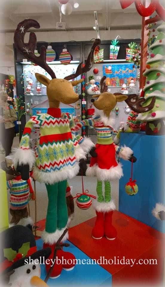 RAZ Posable Standing set of 2 Deer 29 inch Merry and Bright RAZ