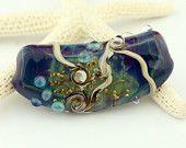 Lampwork Glass Bead Long Focal Blue Purple 'Deep Sea'