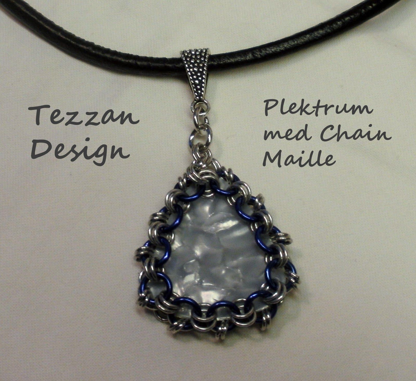 Guitar Pick with Chain Maille on Leather Cord