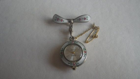 Beautiful Vintage Sterling Silver Guilloche Ladies Fob Watch