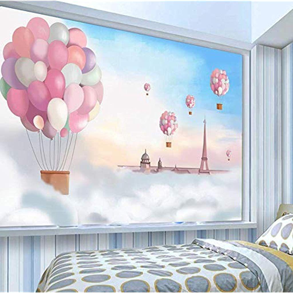 Huatulai Wandgemalde 3d Hintergrund Foto Cartoon Farbe Ballon Blauer Himmel Wandbild Tapete Kinderzimmer Landschaft Wandbi In 2020 3d Hintergrund Blauer Himmel Tapeten