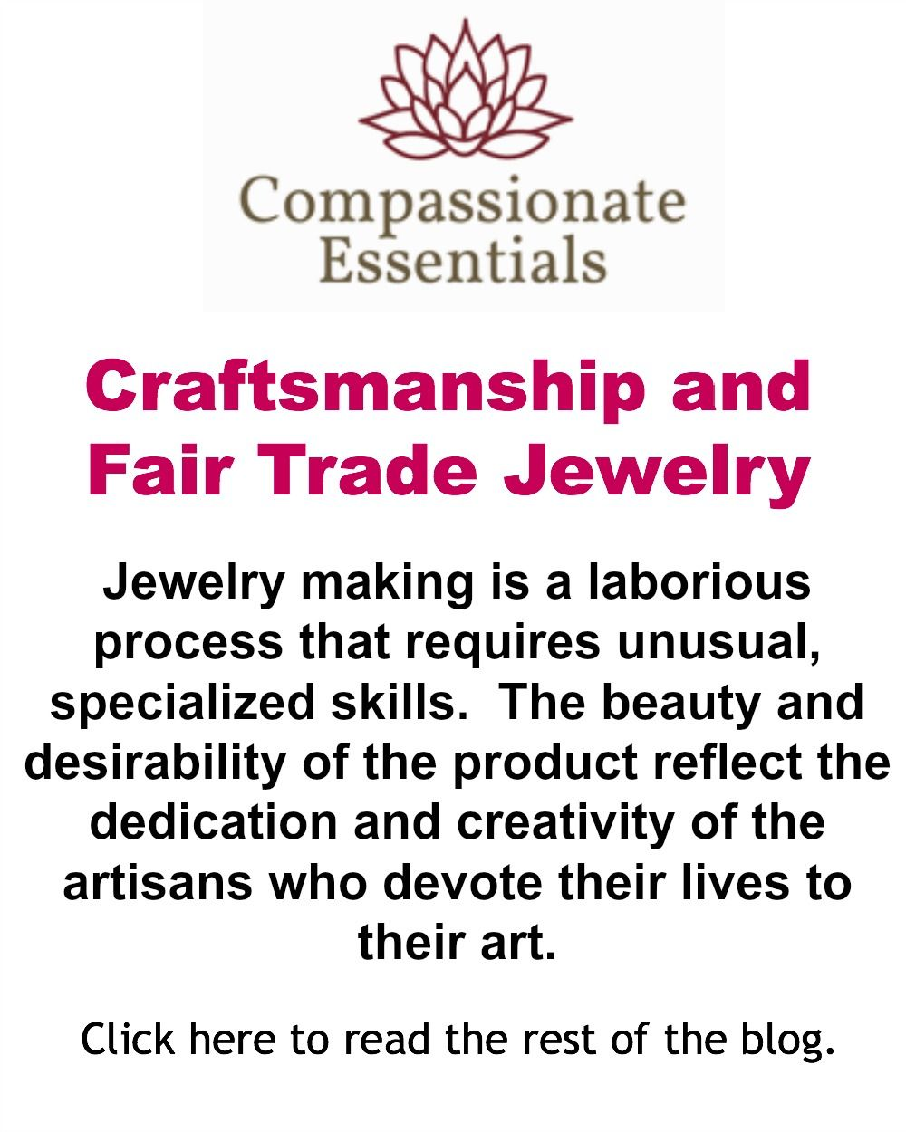 Craftsmanship and Fair Trade Jewelry.