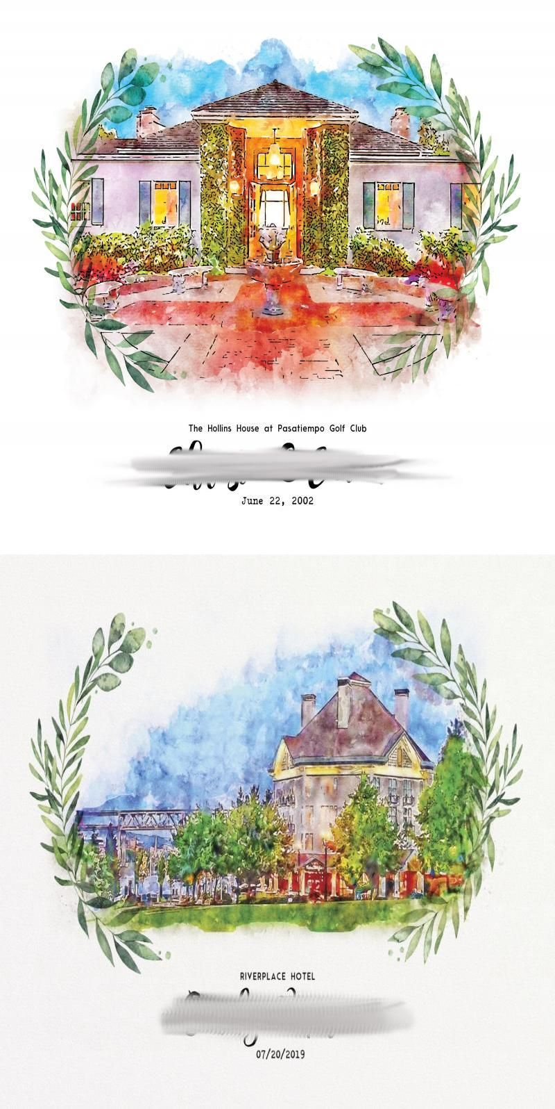 Custom Wedding Venue Painting For Wedding Invitation Watercolor