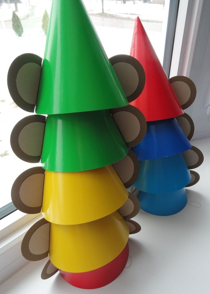 Monkey party hats for a Curious George Birthday Party
