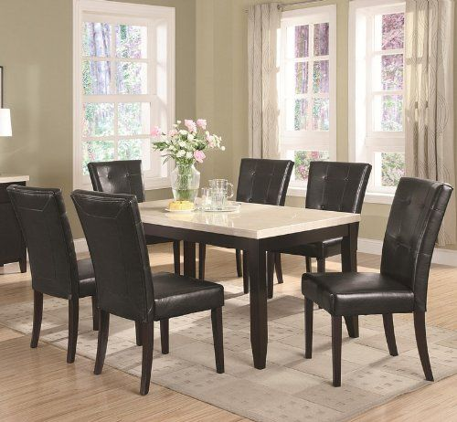 b9c70f72db2d 7 Piece Dining Set Faux Marble Top Anisa Collection Coaster Coaster Home  Furnishings