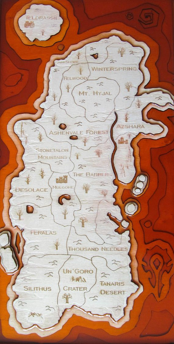 Eastern Kingdoms map, Wood and resin, World of Warcraft wooden map ...