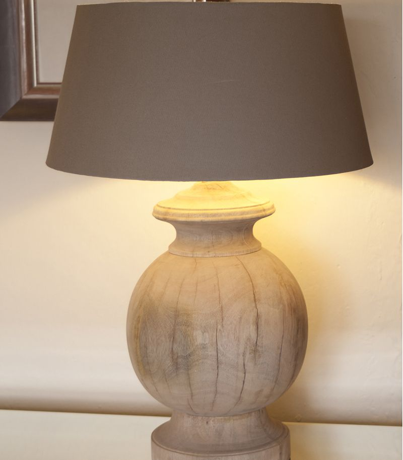 Large natural wooden table lamp