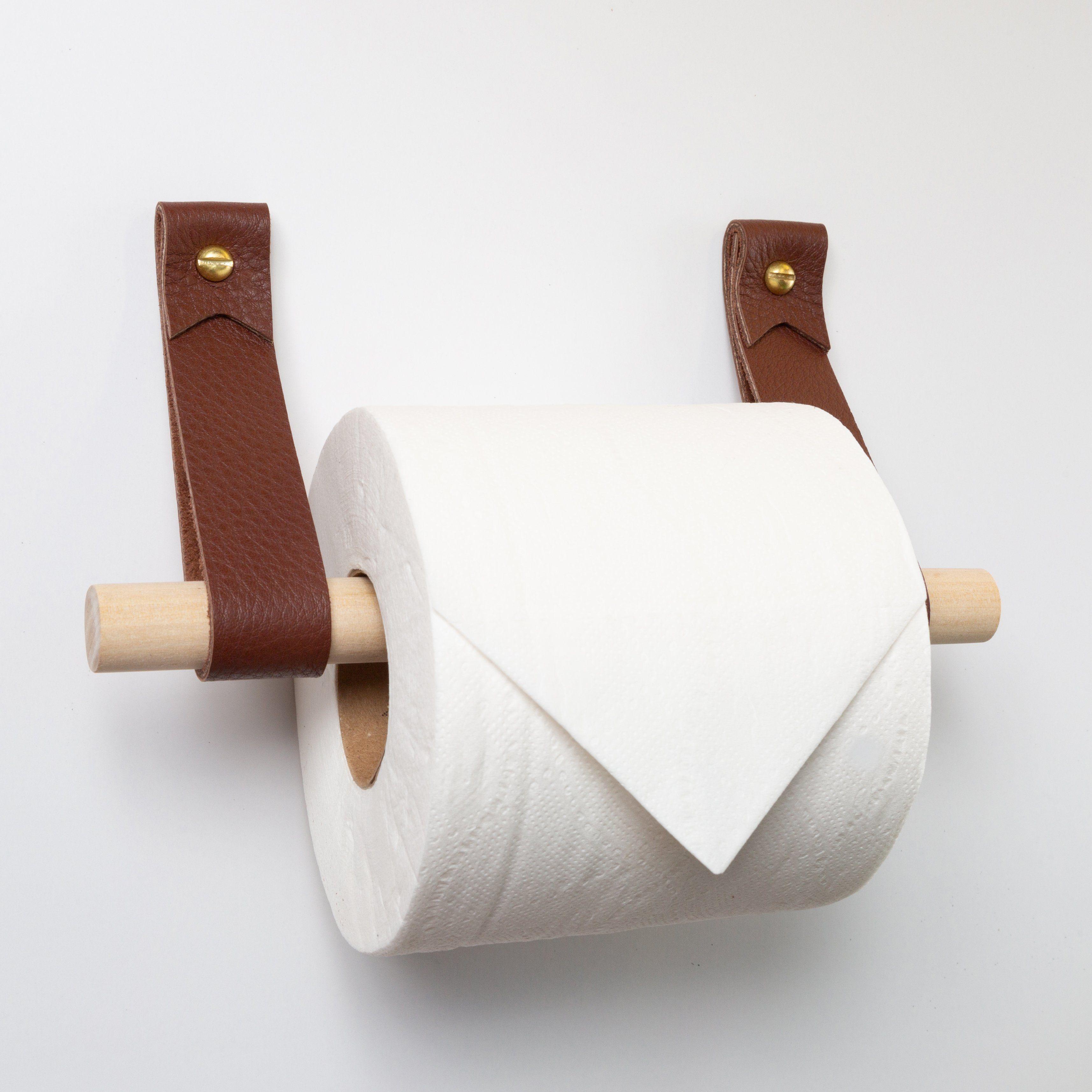 Photo of Toilet Paper Holder Kit [Flag End] – Walnut / Birch / Brass