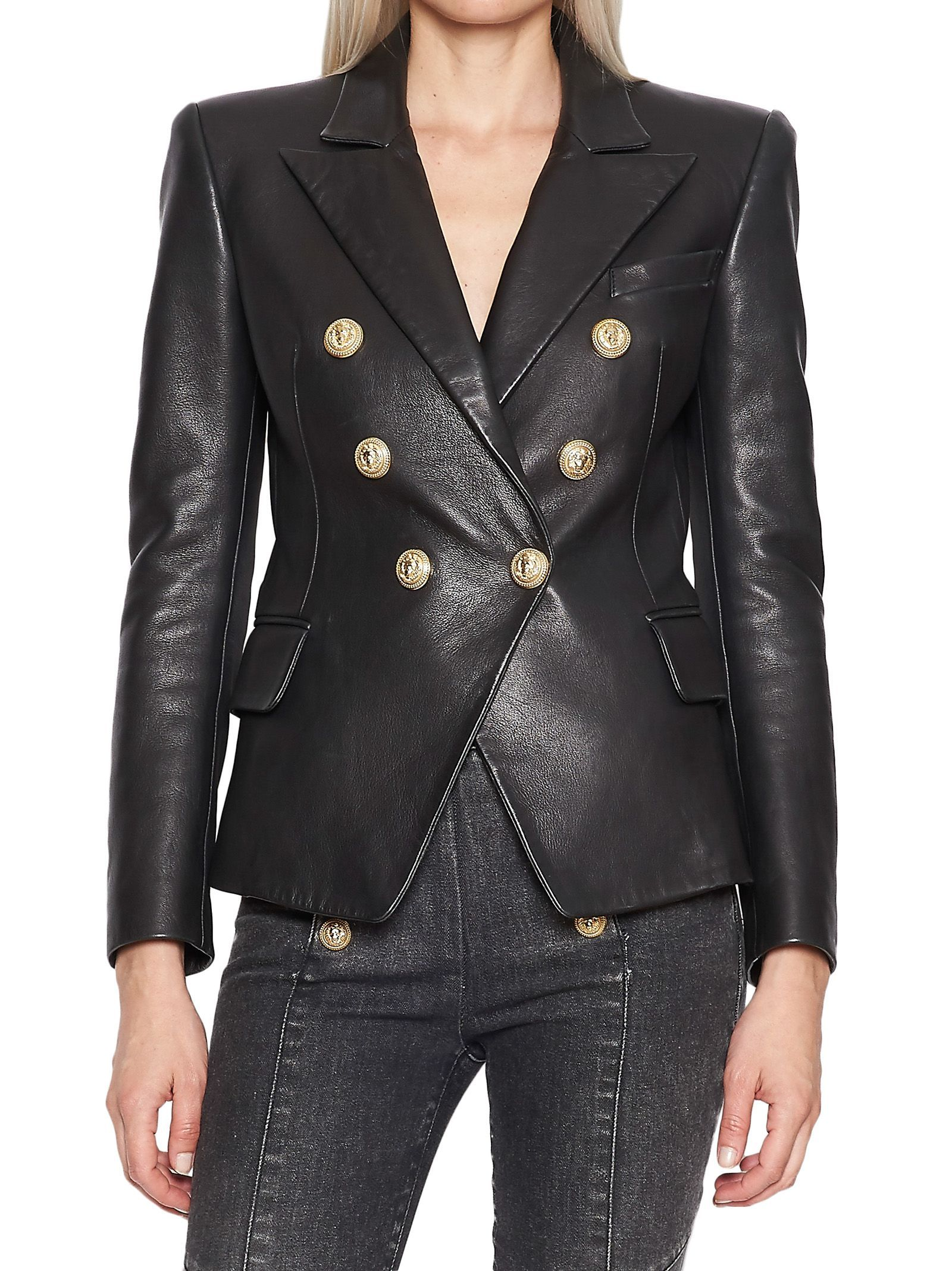 Balmain Jacket Balmain Cloth Blazer Designs Leather Blazer Black Faux Leather Jacket [ 2136 x 1600 Pixel ]