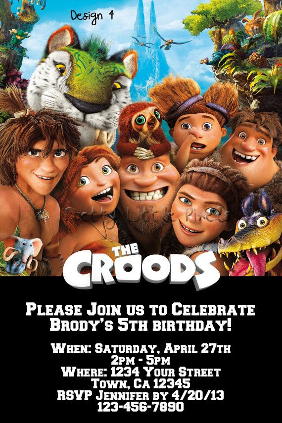 the croods birthday invitation and free by prettylittlepixels