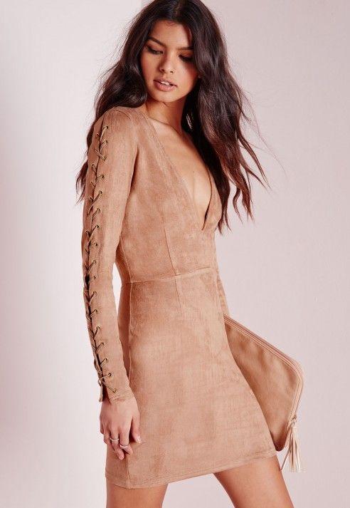 Faux Suede Lace Up Detail Bodycon Dress Tan - Dresses - Bodycon Dresses - Missguied