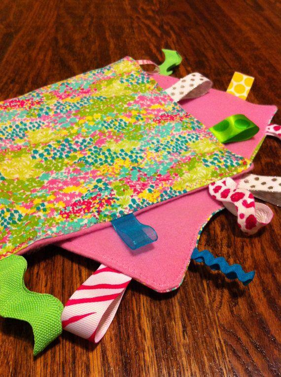 Crinkle tag rag sensory blanket Girly pink by NapTimeMakings, $12.00
