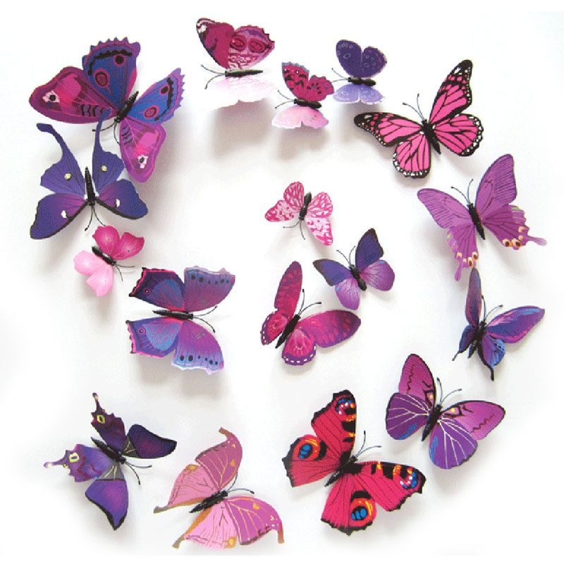 Magnetic Wall Decor 12pcs/lot 3d pvc wall stickers magnet butterflies diy wall sticker