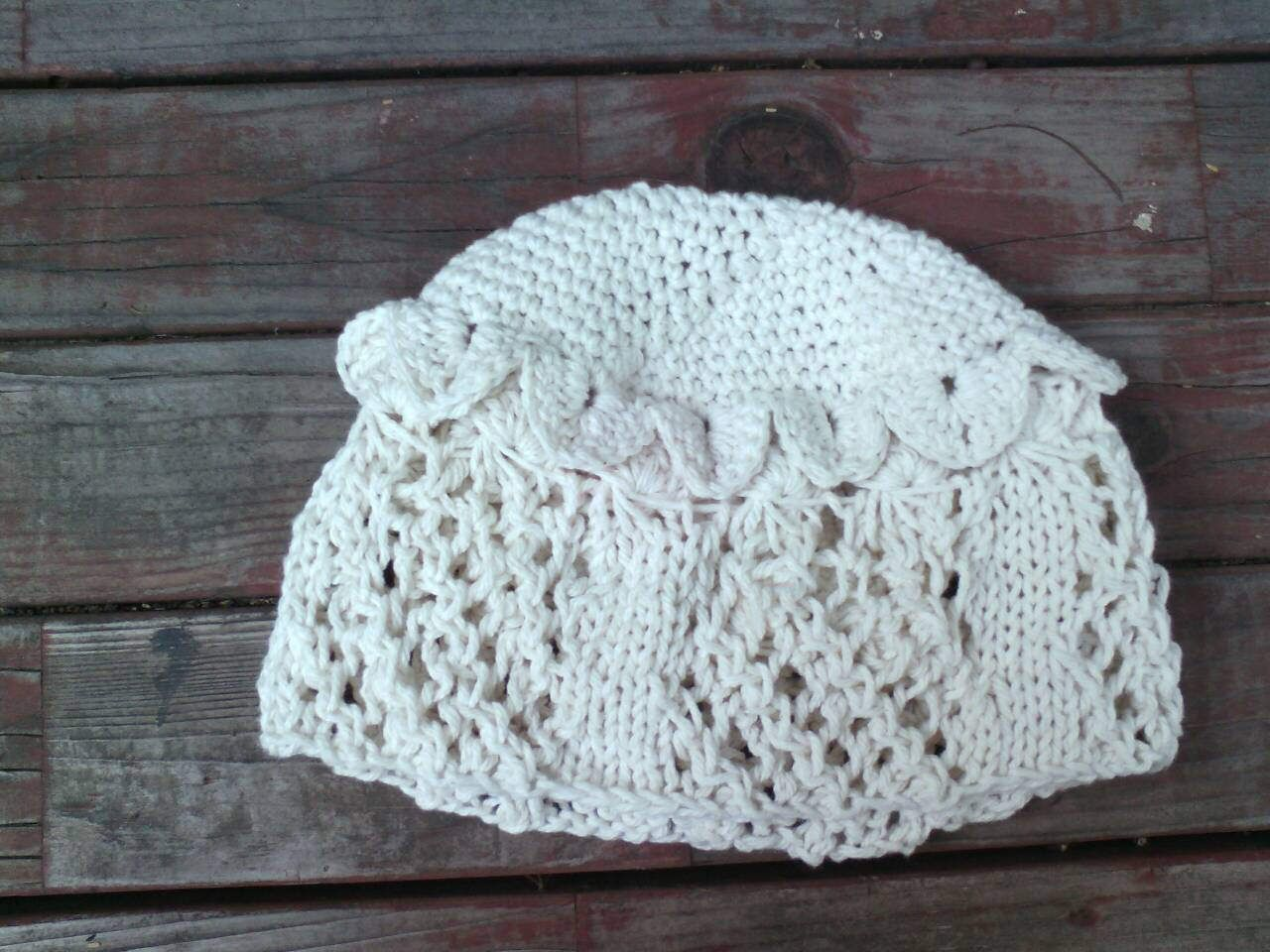 Cotton Knit Diagonal Madeira Lace Cloche with broomstick lace and ...