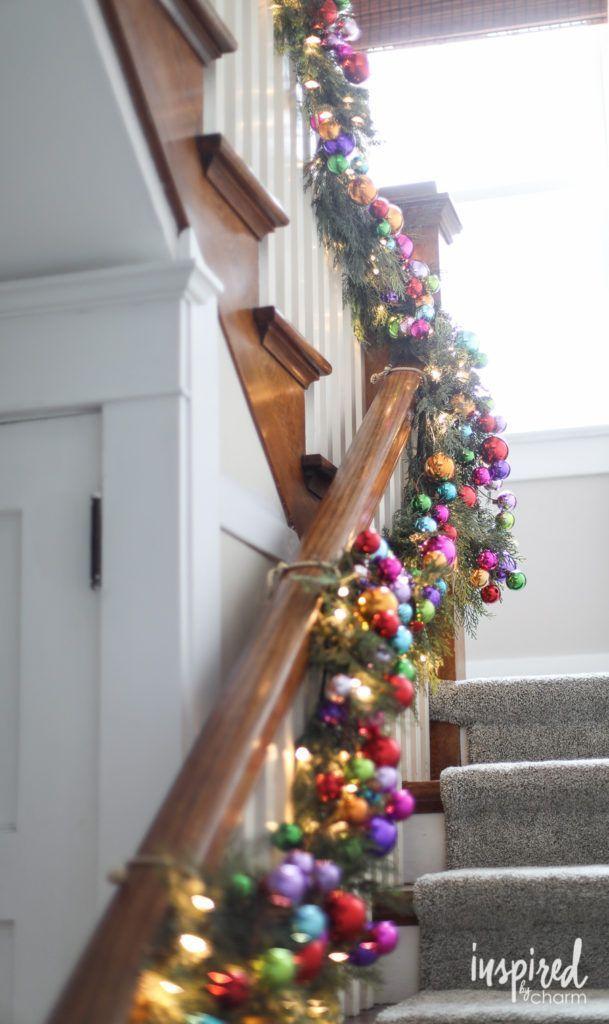 Christmas Garland - rainbow gradient #christmas #decor #staircase