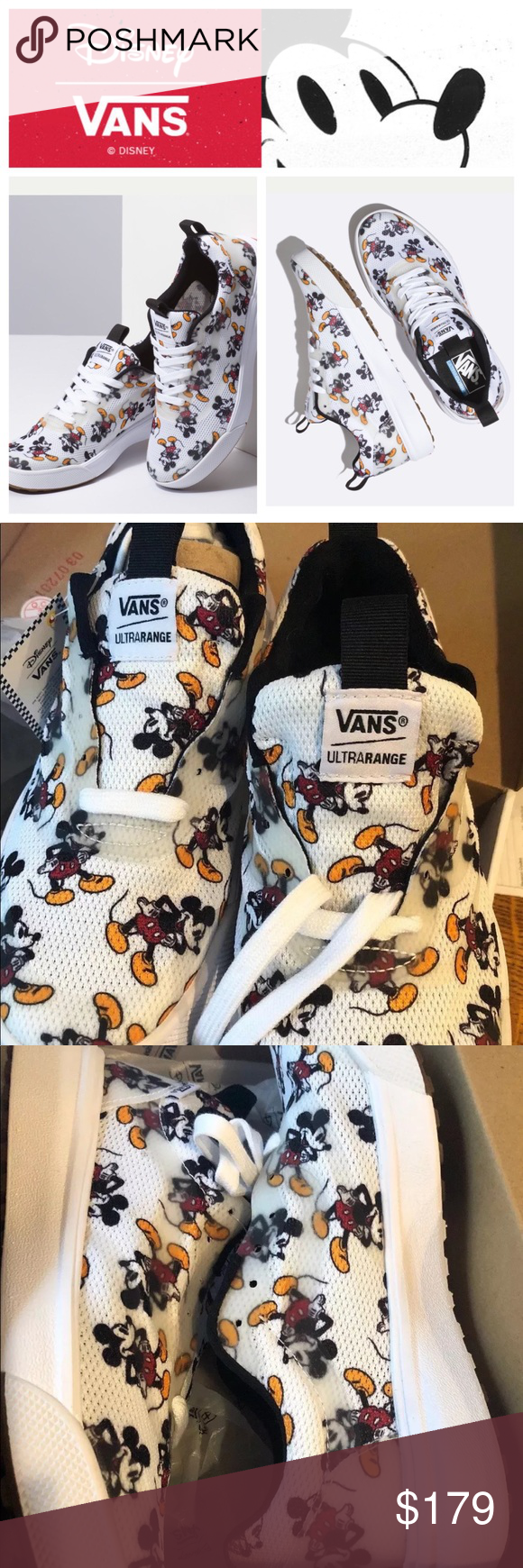 Vans Disney Mickey Mouse/White womens 8
