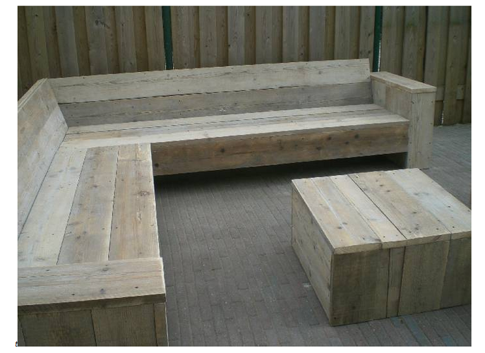 Garden bench - simple design, slanted back.