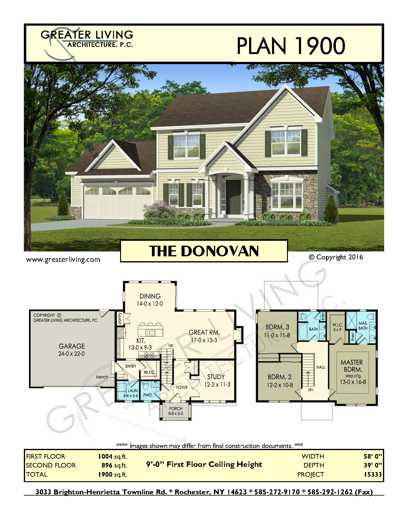 Plan 1900 THE DONOVAN House Plans 2 Story House Plan