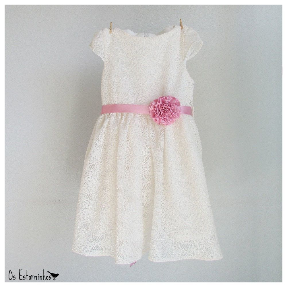 Sweet Vintage Toddler//Little Girls Pink Laced Dress W//Belt 2T 3T 4T 4 5 6 6X