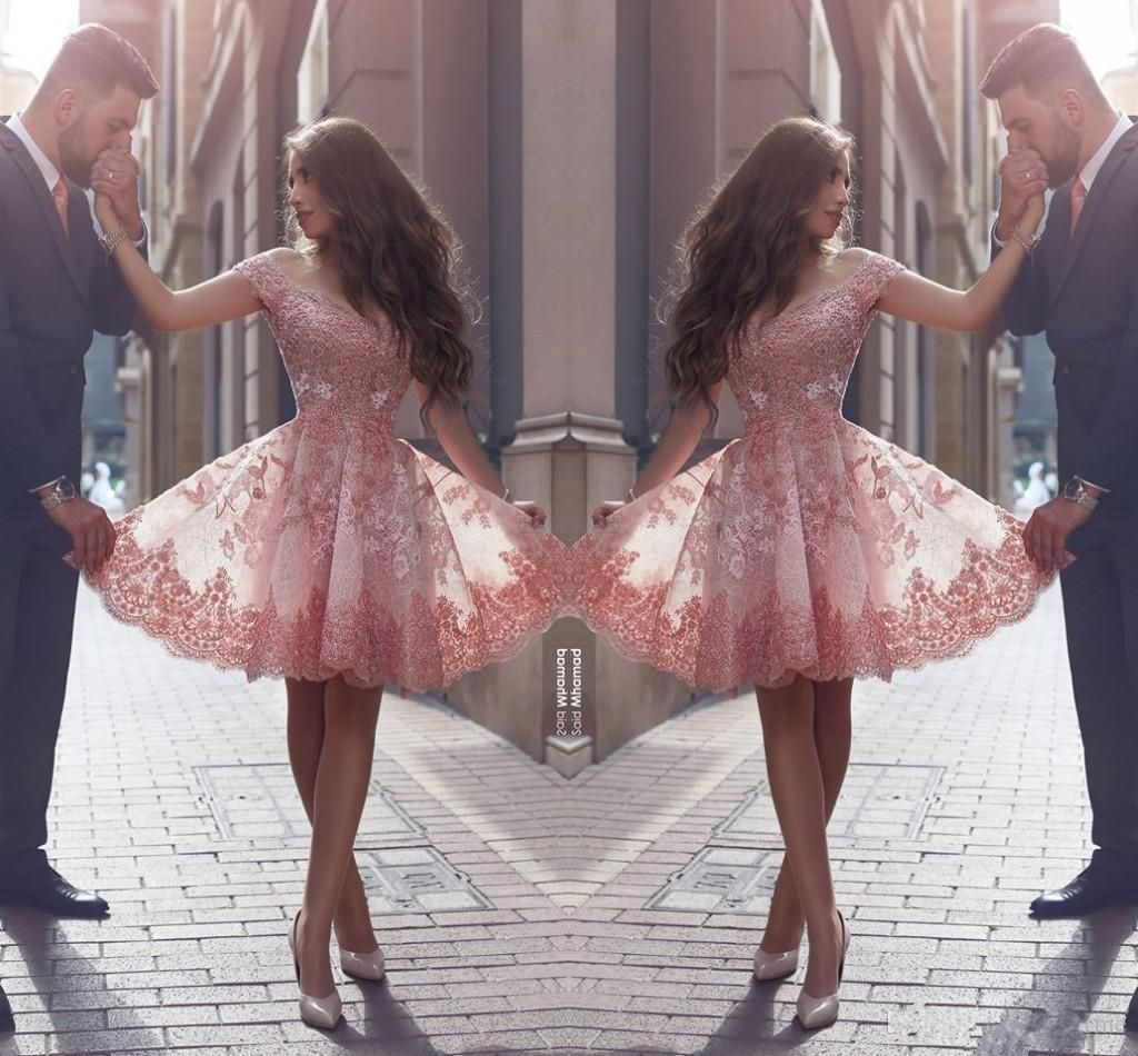 2016 Dusty Pink New Arabic Style Homecoming Dresses Off Shoulders Lace Appliques Cap Sleeves Short Prom Dresses Backless Cocktail Dresses Homecoming Red Dresses Latest Homecoming Dresses From Babyonline, $112.57  Dhgate.Com
